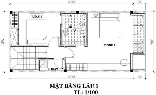 Mẫu thiết kế nhà 1 trệt 1 lầu diện tích 5×10 ấn tượng