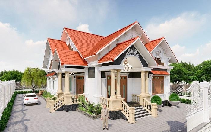 Những mẫu biệt thự 1 tầng 4 phòng ngủ cho những gia đình thích sự thoải mái
