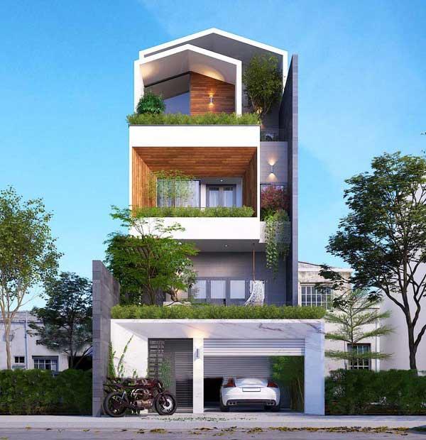 Những mẫu nhà phố mặt tiền 7m rộng rãi và tiện nghi
