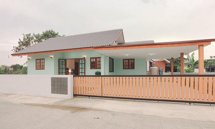 Nhà 1 tầng trang trí màu xanh pastel ấn tượng với 3 phòng ngủ